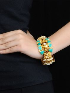 Bold Turquoise-Pearl Silver Kada (Bangle Size - 2/4)