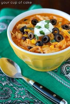 Crockpot Chicken Enchilada Soup, this is AMAZING!