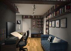 Projeto do escritório BTliê arquitetura.  Biblioteca em casa apartamento pequeno decoração escura parede preta Corner Desk, Conference Room, Table, Furniture, Black, Home Decor, Small Library Rooms, Black Office, Dark House