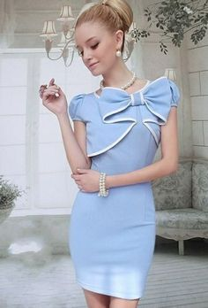 Baby Blue Vintage Dress Absolutely love this design, especially the feature bow and the way it forms a sort of bolero top to the dress!