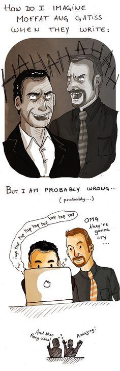 """I can just see Gatiss saying, """"No, no, no... Mycroft wouldn't say that!"""" and then Moffat: """"No, YOU wouldn't say that. But Mycroft would!"""""""