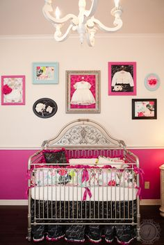 Our nursery! Custom bedding sewn by Maddie Boo Bedding.  Main colors are fuchsia, black and cream. Style is somewhat French and shabby chic. Wall decor is inspired courtesy of other pinterest posts. Crib by Bratt Decor.