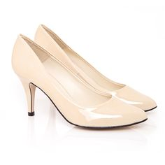 On trend pointed toe vegan court shoe, with classic stiletto heel. Simple, but effective.  http://www.beyondskin.co.uk/Tara-Taupe-Faux-Patent-p/tara-tpe.htm