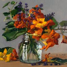 This is a floral still-life painting of yellow and orange nasturtiums and purple lavender in a mason jar, and it is from my Bountiful Observations series, inspired by flowers, plants, and common objects that record the passage of time and the seasons, with 25% of the net proceeds of each sale being donated to the American Horticultural Society, www.ahs.org. Title: Oh Jolly Summer! {Nasturtiums and Lavender} Size: 8 x 8 (20.3 x 20.3 cm), with frame: 14 x 14 (35.6 x 35.6 cm) Date Complete...