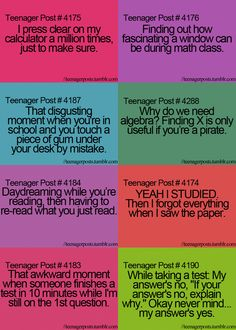 Lol so me especially the last one on the right teenager posts school, funny teenager Teenager Posts School, Teenager Posts Crushes, Teenager Quotes, Teen Quotes, Teen Memes, Funny Relatable Memes, Funny Texts, Funny Quotes, Relatable Posts