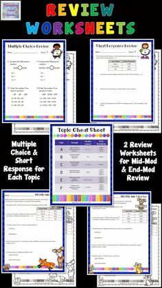 Review worksheets for Engage NY Math Module Assessments - 4th Grade