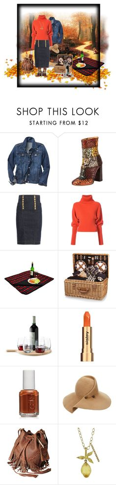 """""""Fall Picnic in Dark Denim"""" by jroy1267 ❤ liked on Polyvore featuring Gap, Chloé, Dsquared2, Creatures of the Wind, Picnic at Ascot, Picnic Time, LSA International, Sisley, Essie and Eugenia Kim"""