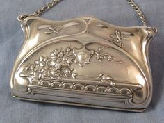 Sterling art nouveau purse with dragonflies