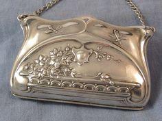 Sterling art nouveau purse with dragonflies