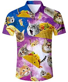 T-Shirt 3D Printed Colorful of Cute Funny Cat Astronaut Flying in Rocket Outer Casual Tees
