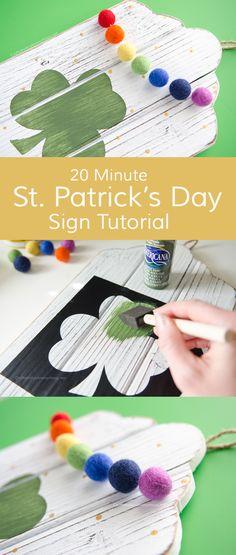 DIY St Patrick's Day Shamrock sign tutorial :: Easy decor craft idea. Love the felt ball rainbow garland!