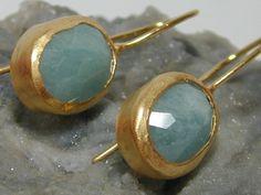 Aquamarine vermeil earrings by salomea100 on etsy.