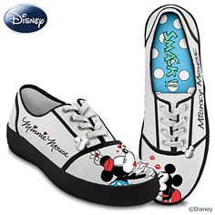 Bradford Exchange Disney Kissin' Mickey & Minnie Women's Canvas Shoes by The 10 M US Women Sneakers Mode, Retro Sneakers, Grey Sneakers, Retro Shoes, Grey Shoes, Sneakers Fashion, Women's Shoes, Canvas Sneakers, Shoes Sneakers