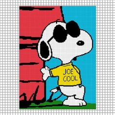COZYCONCEPTS SNOOPY JOE COOL CROCHET PATTERN GRAPH  AFGHAN
