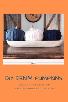 Do you have any old denim jeans waiting to be donated? Consider using them to make some cute Fall pumpkins. Click to find out how. Diy Pumpkin, Crochet Pumpkin, Reuse Clothes, Easy Projects, Craft Projects, Dollar Store Crafts, Diy Organization, Alter, Halloween Diy