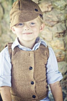 Newsboy hat and vest tutorial (it is cute that the little boy wouldn't pose for the photos, so his big brother wore it and is almost busting out)