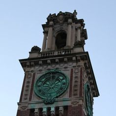 Beautiful old clock tower along Prospect Street Providence, Rhode Island.