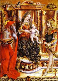 Carlo Crivelli. The Madonna of the Swallow, 1490. Enthroned Madonna with Saint Jerome, and Saint Sebastian. Saint Jerome appears to the left of the Virgin, with his usual attributes of model Church, Cardinal's robes, lion, and of course books.