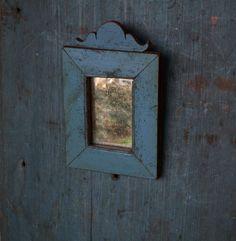 Primitive Folk Art Mirror 1800s Wood Original Blue Paint Patina Miniature   eBay