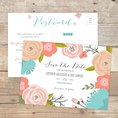 Save the Date Postcard - Rustic Floral Canopy - DIY Printable on Etsy, $29.00 #designsbydylcia #floral #rustic #floralcanopy #coral #savethedate #postcard #wedding