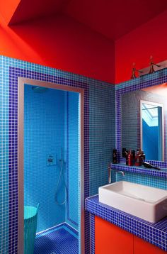 Blue and red bathroom