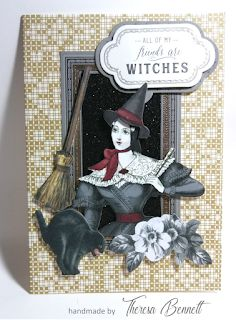 I usually don't send Halloween cards out but I do make them. I like the playfulness of these cards. Fall Cards, Holiday Cards, Holiday Decor, Anna Griffin Cards, Card Kit, Halloween Cards, Witch, Stamp, Christmas Ornaments