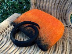 Hand felted hand bag orange and black merino wool