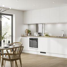 White Kitchen Units, Kitchen Design Small, Handleless Kitchen, Small White Kitchens, Kitchen Design, Kitchen Units, Kitchen Inspiration Board, White Kitchen Wood Floors, Wood Floor Kitchen