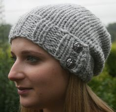 Hand Knit Hat Women's Hat- Slouchy- Beanie- soft grey with 2 buttons- Available in different colors- chunky- winter hat- women accessories