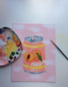 """Instagram: @artsydaffodils """"Peachy"""" painted with acrylics on canvas"""