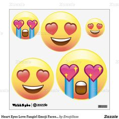 889494425d Heart Eyes Love Fangirl Emoji Faces Wall Decals Emoji Party Supplies