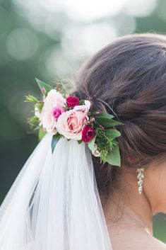 Hair with veil fuchsia wedding flowers in hair bridal accessories bride Wedding Hair Flowers, Wedding Veils, Flowers In Hair, Headpiece Wedding, Hair Wedding, Dream Wedding, Wedding Dresses, Veil Hairstyles, Wedding Hairstyles With Veil