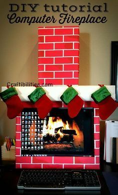 Christmas decor cubicle office decorations do it yourself craftibilities holiday office idea fireplace computer cubicle fun diy christmas decorations solutioingenieria Gallery