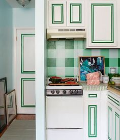 make your kitchen cabinets pop art with washi tape