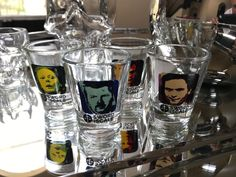 All+4+shot+glasses+from+set+#1+including+depictions+of+John+Wayne+Gacy,+Aileen+Wuornos,+Ted+Bundy+and+Jeffrey+Dahmer.