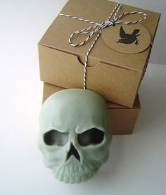 Skull Soap with Black Raven Tag Goat's Milk by KcSoapsNmore on Etsy