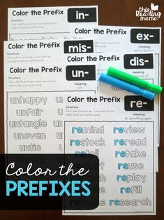 Color the Prefixes Worksheets - This Reading Mama