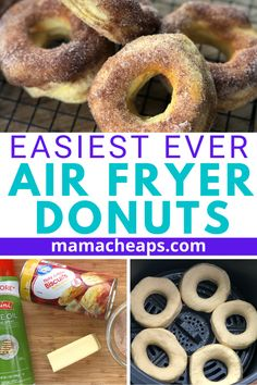 Oh, you want an easy air fryer hack? I have the EASIEST air fryer hack! Get ready for some delicious air fryer donuts in just 5 minutes. Bisquick Donut Recipe, Air Fryer Doughnut Recipe, Easy Donut Recipe, Biscuit Cinnamon Rolls, Biscuit Donuts, Air Fryer Recipes Low Carb, Air Fryer Dinner Recipes, Air Fry Donuts, Grand Biscuit Recipes