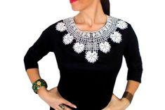 White Lace necklace Statement bib Gothic Fashion Designer