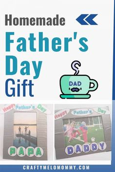 Looking for something kids can make for Father's Day? How about a cute One of a Kind DIY picture frame? This is a homemade Father's Day crafts to say Happy Father's Day. Using me free printable and upcycling a cardboard box, you can help your child create a unique Father's Day present for Dad, Daddy, Papa, or Grandpa. #HomemadeFathersDay #HappyFathersDay #UsableFathersDayCrafts Homemade Fathers Day Gifts, Fathers Day Presents, Presents For Dad, Daddy Gifts, Happy Fathers Day, Gifts For Kids, Diy Father's Day Crafts, Father's Day Diy, Craft Projects For Kids