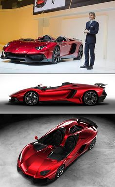 "The stunning Lamborghini Aventador J Roadster isn't just a concept, but rather a real one-off production vehicle. It was sold for 2.1-million Euros and ""uses the same 700-horsepower, 6.5-liter V12 as its hardtop kin, and Lamborghini states that the open-air J will hit speeds as high as 186 miles per hour."