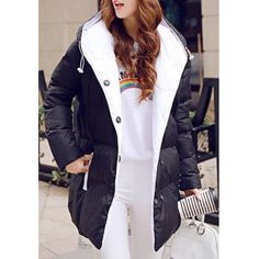 Sweet Hooded Long Sleeve Buttoned Pocket Design Women's Down Coat (BLACK,XL) in Jackets & Coats | DressLily.com