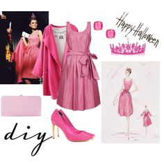 Breakfast At Tiffany's Pink Dress Costume by lizzybonescair on Polyvore featuring Ted Baker, Dune, Kate Spade, Halloween, audreyhepburn, breakfastattiffany, DIYHalloween and diycostume
