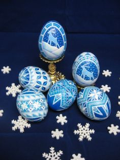 Blue and white Winter-themed Ukrainian eggs, soon to be made into ornaments by Theresa Somerset of Precision Studio.