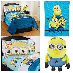 Despicable Me 'Minions' 6 Piece Bedding Set - Twin/Full Reversible Comforter, 3 Piece Sheet Set, Plush Throw