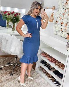 Casual Dresses, Fashion Dresses, Thick Girl Fashion, Plus Size Looks, Work Attire, Bridal Dresses, Work Wear, High Neck Dress, Bodycon Dress