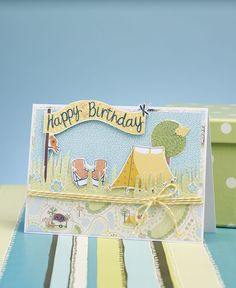 Pitch up and make this adorable tent card using the free digital papers from Papercraft Inspirations 155!