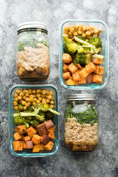 Prep these balsamic pasta jar salads and sweet potato, chickpea, broccoli bowls at the same for more variety in your weekly meal prep!