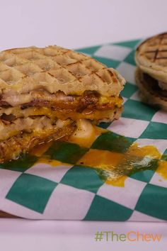 A delicious breakfast choice! Try a Ham, Egg and Cheese Waffle Sandwich by Mario Batali! #TheChew
