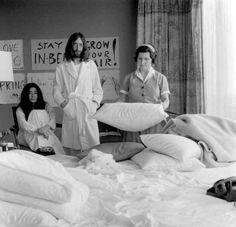 theswingingsixties: John And Yoko Wait For A Maid To Change The Sheets At The Bed-In.